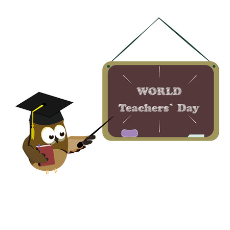 Concept on the World Teacher's Day with the image of an owl in the image of a teacher. Vector illustration 免版税图像 - 110260882