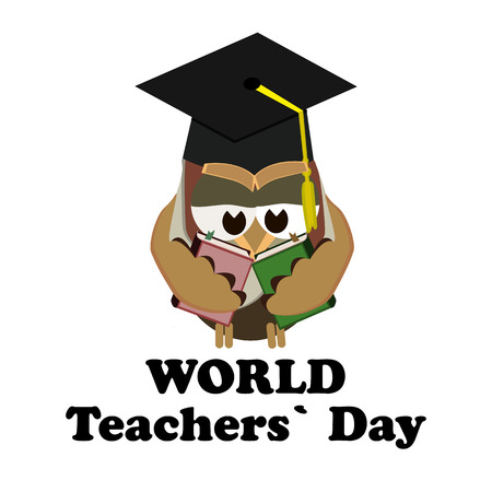 Concept on the World Teachers Day with the image of an owl in the image of a teacher. Vector illustration