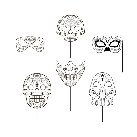Set of black and white props in the form of skulls for a photo session on an isolated background. Vector illustration
