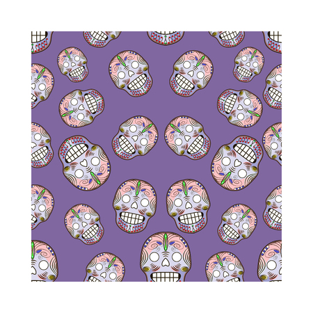 Seamless pattern with celebratory skulls. Vector illustration