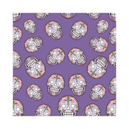 Seamless pattern with celebratory skulls. Vector illustration 免版税图像 - 110027883