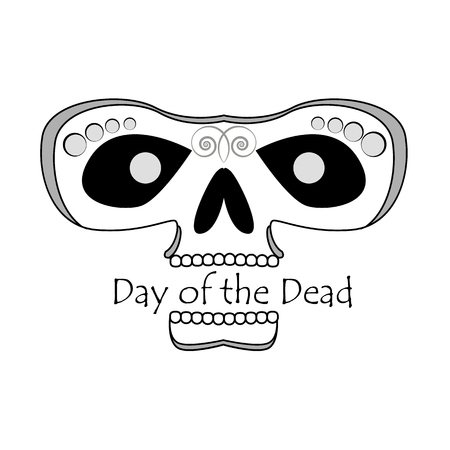 Picture of a black and white skull with the inscription Day of the Dead. Vector illustration 矢量图像