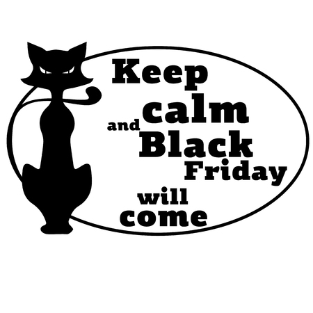 The concept on Black Friday with a motivating phrase and the image of a cat. Vector illustration. 矢量图像