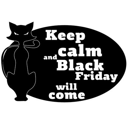 The concept on Black Friday with a motivating phrase and the image of a cat. Vector illustration. 免版税图像 - 109817680