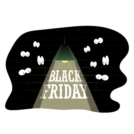Black Friday sale inscription design template. Surprised eyes looking out of the darkness. Black Friday banner, vector illustration.