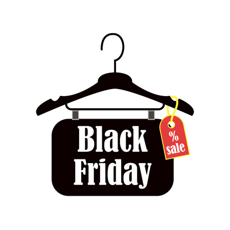 Black Friday inscription design template. Sale banner on the thruster. Vector illustration.