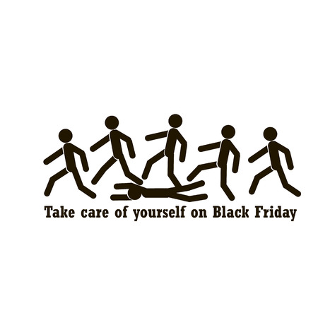 The concept on Black Friday with a motivating phrase and the image of running people. Vector illustration.