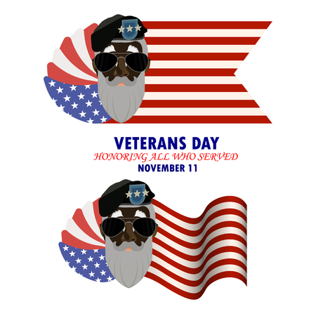 Inscription Veterans day. Honoring all who served with an image of a veteran of the USA with a gray beard. Vector illustration