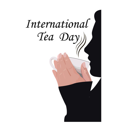 International Tea Day, silhouette of a man drinking hot tea. Vector illustration