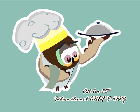 International chef day greeting card. Funny cartoon chef owl with hat on blue background. Vector illustration