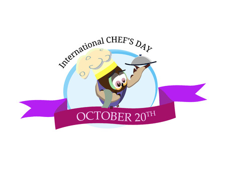 International chef day greeting card. Funny cartoon chef owl with hat on isolated background. Vector illustration 矢量图像