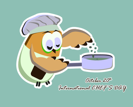 International chef day greeting card. Funny cartoon chef owl with hat on blue background. Vector illustration 免版税图像 - 109859792