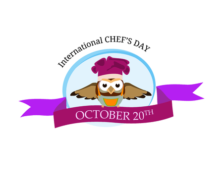 International chef day greeting card. Funny cartoon chef owl with hat on isolated background. Vector illustration 免版税图像 - 115207292