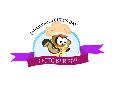 International chef day greeting card. Funny cartoon chef owl with hat on isolated background. Vector illustration 免版税图像