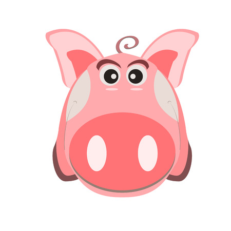Image of a cartoon pink pig, the symbol of the Chinese New Year, on an isolated background. Vector illustration