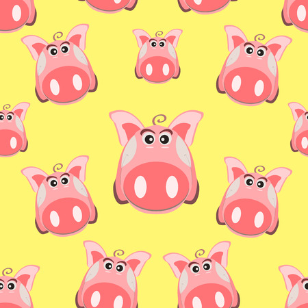 Seamless pattern with the image of a cartoon pink pig, the symbol of the Chinese New Year, on an isolated background. Vector illustration
