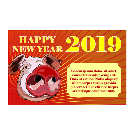 Greeting card with a pink pig, a symbol of the Chinese New Year. Vector illustration