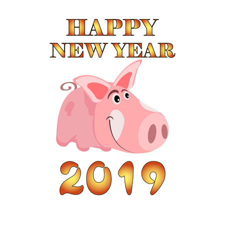 Greeting card with the image of a cartoon pink pig, the symbol of the Chinese New Year, on an isolated background. Vector illustration 矢量图像