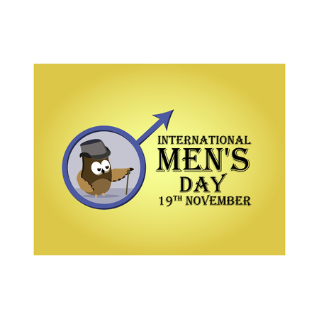 Greeting card for International Men's Day, with the image of cartoon owls stylized as gentlemen. Vector illustration 免版税图像 - 115207305