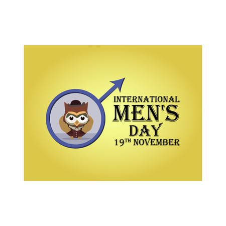 Greeting card for International Men's Day, with the image of cartoon owls stylized as gentlemen. Vector illustration