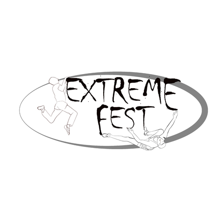 Concept for Extreme Climbing Festival, with the image of rock climbers. Vector illustration 矢量图像