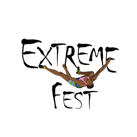 Concept for Extreme Climbing Festival, with the image of rock climber. Vector illustration