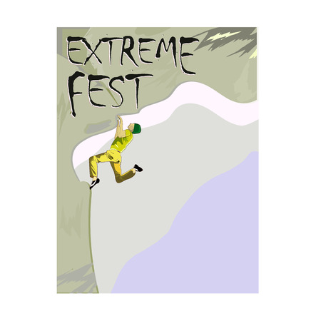 Concept for Extreme Climbing Festival, with the image of a rock climber on a rock, template for a poster. Vector illustration