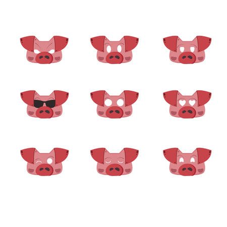 A set of emotions. Pig head with 9 facial expressions. Vector illustration