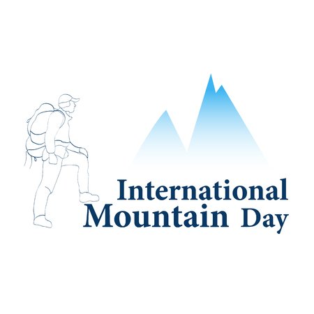 Inscription International Mountains Day with the image of climbers. Vector illustration 免版税图像 - 115709649