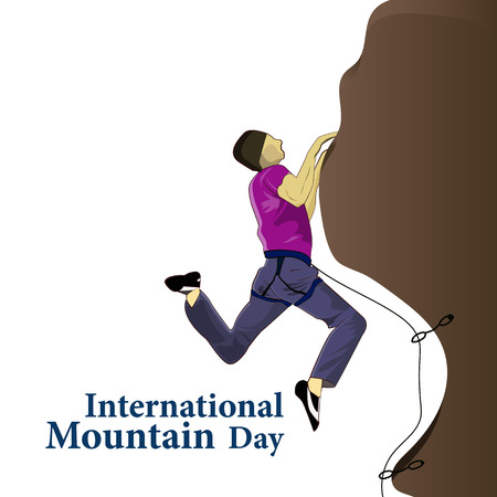 Inscription International Mountains Day with the image of climbers. Vector illustration 免版税图像 - 115709650
