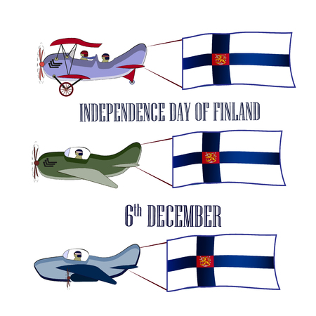 Independence Day of Finland, set with three planes and national flags on an isolated background. Vector illustration 矢量图像
