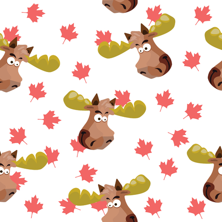 Seamless pattern with the image of a moose head on a background of maple leavesVector illustration