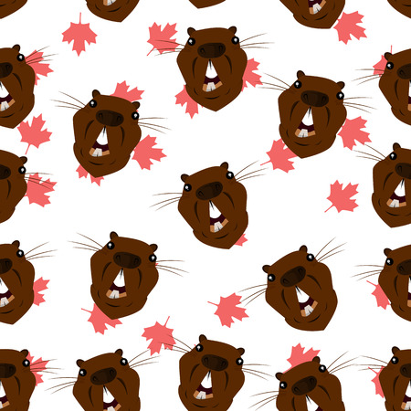 Seamless pattern with the image of the head of a beaver on the background of maple leaves. Vector illustration