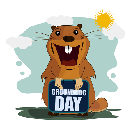 Greeting card for Groundhog Day on isolated background. Vector illustration 矢量图像