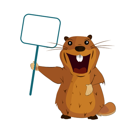 An image of a groundhog with a poster for the Groundhog Day on an isolated background. Vector illustration 矢量图像