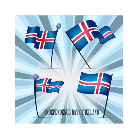 Independence Day of Icelandic, a set of flags, vector illustration