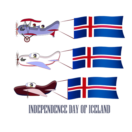 Independence Day of Icelandic, set with three planes and national flags on an isolated background, vector illustration 免版税图像 - 127701391