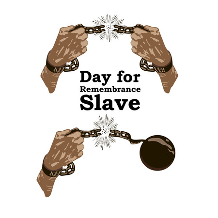 Concept on Day for the abolition of Slavery. Hands with broken chain, vector illustration