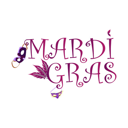 The inscription Mardi Gras, with the image of the carnival masks, vector illustration