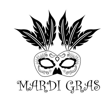 The inscription Mardi Gras, with the image of the carnival mask, vector illustration