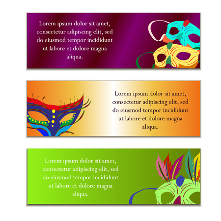 Festive banners on the Mardi Gras, with the image of carnival masks, vector illustration
