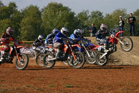 motocross start Stock Photo