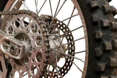 Close up on back motorcycle wheel. Byke. Stock Photo - 3862151