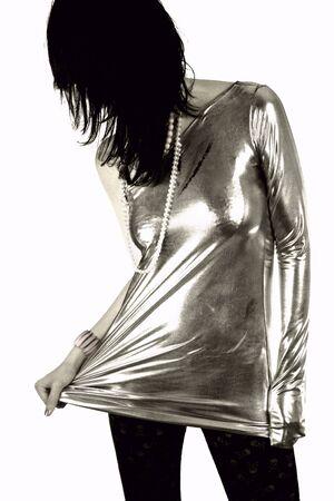 girl wearing silver costume photo