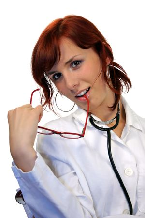 sexy female doctor: Beautiful young doctor with stethoscope