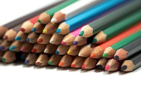 Set of color pencils on a white background photo