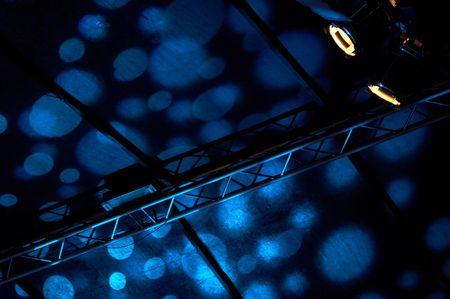 electro world: colorful lights in a concert stage