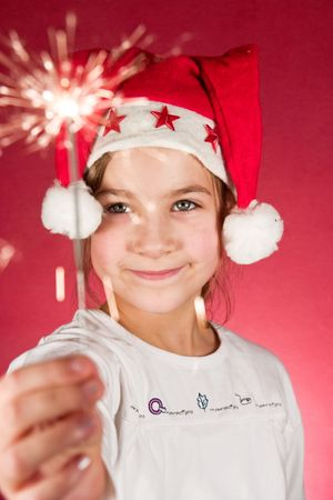 Child watching a cool firework, sparklers Stock Photo - 5672759