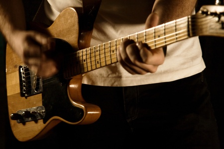 guitarist of a rock band with a guitar Banque d'images