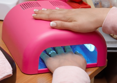 Pink uv lamp for nails Stock Photo